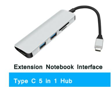 Type C Hub Adapter 5 In 1 USB Hub with TF/SD+UHD:4k@30Hz/USB3.0 For MacBook Pro