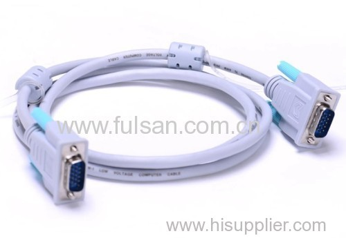 Factory direct sell vga cable VGA15 Male monitor cable with 2 ferrites